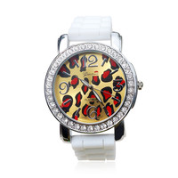 Flouro Color Silicone Leopard Print Rhiestone Watch