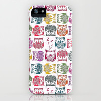 stamped sherbert owls iPhone & iPod Case by Sharon Turner