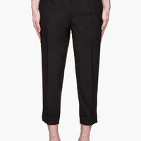 Undercover Black Pleated And Cropped Trousers for men | SSENSE
