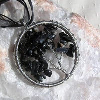 Black Tourmaline (Shorl) Crystal Gemstone Tree of Life Pendant - Up-Cycled