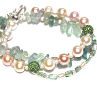 Pearl Cuff Bracelet Flourite Nugget and Creamy Ocean Aqua Apatite Multistrand Summer Jewelry FizzCandy