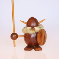 Mid century Scandinavian wooden Viking figurine