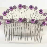 Bridal Hair Accessories, Purple Bridal Comb, Bridal Hair Comb, Bridal Headpiece, Pearl Hair Comb