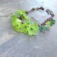 Green fairy bracelet flower bracelet with bronze and copper