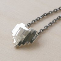Handmade Gifts | Independent Design | Vintage Goods Sterling Silver 8-Bit Heart Necklace - Jewelry - Girls