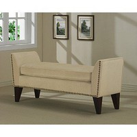 Sand Phoenix Bench with Nailheads | Overstock.com