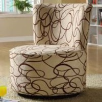 Moda Brown Swirl Print Round Swivel Chair | Overstock.com