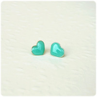 Mint heart post stud earrings - Heart jewelry