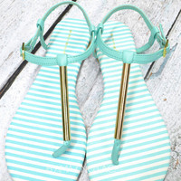 RESTOCKED! Country Club Mint &amp; Gold Sandals