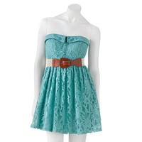 City Triangles Strapless Lace Fit and Flare Dress - Juniors