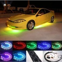"INFONONLINE 7 Color LED Under Car Glow Underbody System Neon Lights Kit 48"" x 2 & 36"" x 2 w/Sound Active Function and Wireless Remote Control"