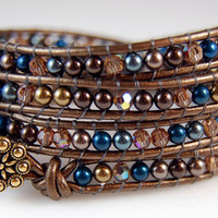 Swarovski Crystal and Pearls Chan Luu Style Wrap Bracelet - Blue and Brown - Brown Metallic Leather