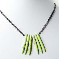Green Spikes Needles Gemstone Tribal Gunmetal Chain Necklace/ Inspired by Native Americans Necklace