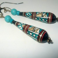 Handpainted Peru Bead Earring Set