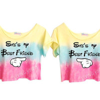 TWO OMBRE PASTELS &quot;She&#x27;s My Best Friend&quot; Unique Tie Dye Crop Top Retro Custom Shirt