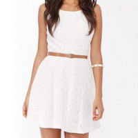 Lace Fit &amp; Flare Dress w/ Belt