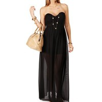 Black Sweetheart Lace Chiffon Maxi Dress