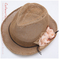 Romantic Flower Embellished Rattan Plaited Hat Topee Coffe