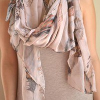 Cream Scarf with Feather Print