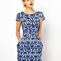 Closet Tie Back Dress with Pockets in Jewel Print at asos.com