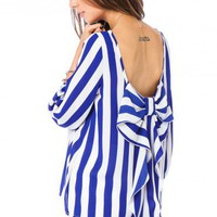 Coletta Bow Blouse in Striped Royal - ShopSosie.com
