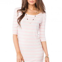 Earnestly Striped Dress in Pink - ShopSosie.com