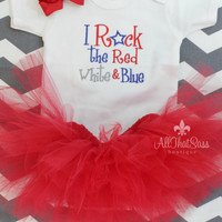 Baby Girls 4th of July Onesuit Bow and Tutu Set - Patriotic - Baby Shower Gift - Summer - Red White and Blue - Fourth - Independence  Day