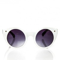 Cat Eye Circle Shades in White - ShopSosie.com