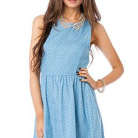 Polka Dot Chambray Tank Dress - ShopSosie.com