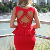 Red Sleeveless Bodycon Peplum Dress with Strappy Cutout Back