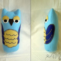 Felt Owl - Turquoise Blue - felt doll - hand embroidered - 8.5&quot; tall