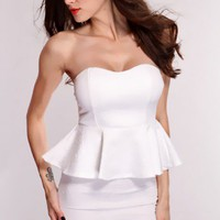 White Floral Embossed Print Peplum Dress