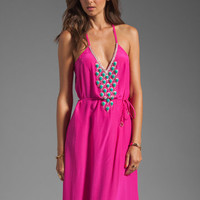 Karina Grimaldi Santa Maria Beaded Maxi Dress in Neon Pink from REVOLVEclothing.com