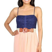 lace gauze spaghetti strap hook and eye front bodice with pleated gauze skirt - 1000047981 - debshops.com