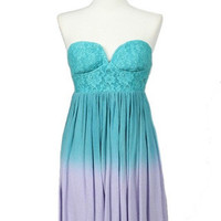 Ocean Potion Lace Sweetheart Ombré Dress -  $50.00 | Daily Chic Dresses | International Shipping