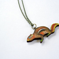 Wood Cut Chipmunk Necklace