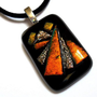 Fused Glass Pendant Necklace, Orange, Copper and Gold Dichroic Glass