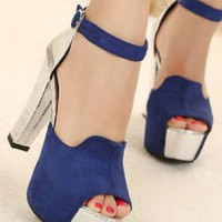 Ladies High Heel Cut Colour Evening Strap Shoes Sandals