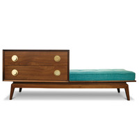 Jonathan Adler claude walnut gossip bench set