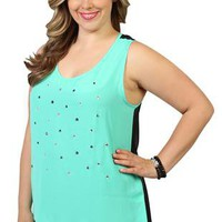 plus size chiffon tank with stone front - 1000049204 - debshops.com