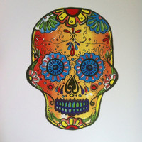 Sugar Skull Print, Day of the Dead Skull Print, Candy Skull, Poster, Psychedelic