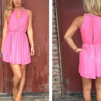 Pink Mini Dress with Beaded Neckline &amp; Cutout Front &amp; Back