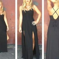 Black V-Neck Maxi Dress with Double Slit Skirt &amp; V-Neck