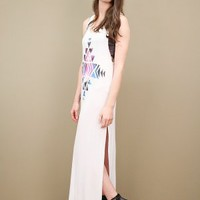 Slinky white maxi dress in soft jersey with galaxy print at the front | shopcuffs.com