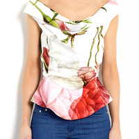 Amaryllis Off Shoulder Botanical Floral Print Blouse by Vivi