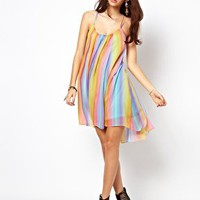 ASOS Rainbow Swing Dress with Cami Back at asos.com