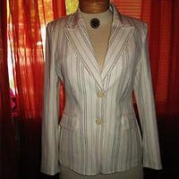 COTE FEMME SUMMER WHITE&amp;BLK PINSTRIPES LINED JACKET!S6