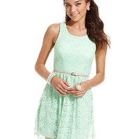 City Studios Juniors Dress, Sleeveless Belted Lace - Juniors Dresses - Macy's
