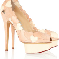 Charlotte Olympia|Love Me heart-appliqud leather and suede pumps|NET-A-PORTER.COM
