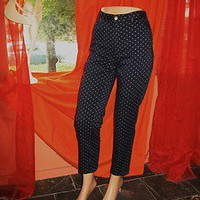 RALPH LAUREN Pants Capri Black W White POLKA DOTS W LOGO! Size 4!COTTON/SPANDEX